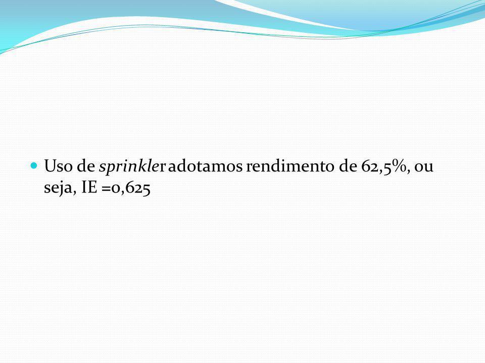 Eficiência da Irrigação: IE Tipo de irrigaçãoEficiência da irrigação Sprinkler para irrigar árvores e arbusto 0,90 Gotejamento0,90 Sprinkler rotor em