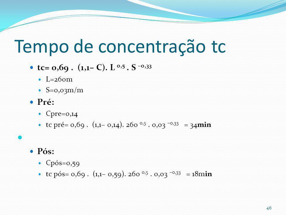 Coeficiente C= Rv Rv=0,05+0,009.AI Pré: AI= 10% Rv=0,05+ 0,009 x 10= 0,14 Cpre= 0,14 Pós= AI= 60% Rv= 0,05+ 0,009 x 60= 0,59 Cpos=0,59 45