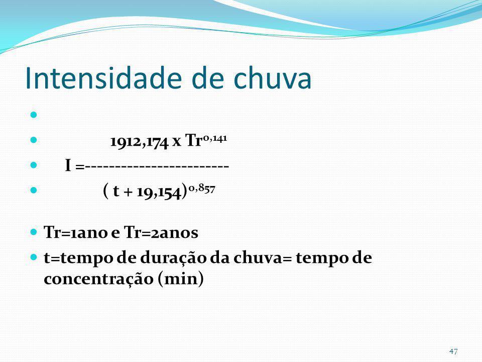 Tempo de concentração tc tc= 0,69. (1,1– C). L 0,5. S –0,33 L=260m S=0,03m/m Pré: Cpre=0,14 tc pré= 0,69. (1,1– 0,14). 260 0,5. 0,03 –0,33 = 34min Pós
