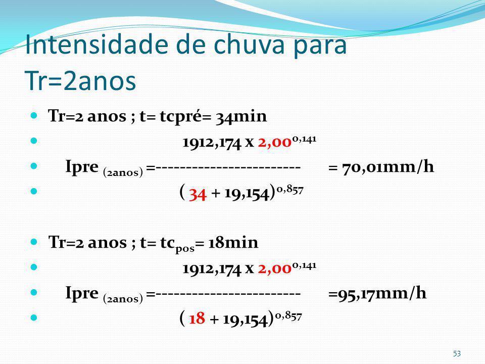 Volume de detenção para Tr=1ano V= (Qpós- Qpré). Td V1ano= (0,424- 0,074) x 18min x 60= 378 m 3 52