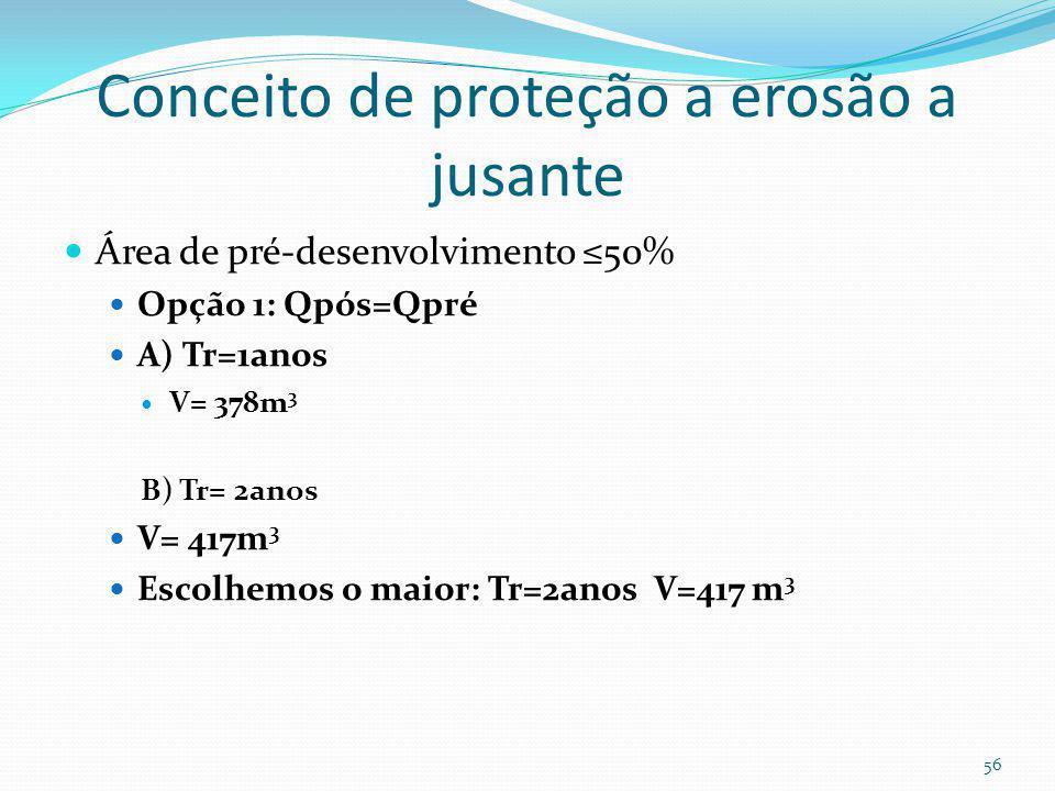 Volume de detenção para Tr=2anos V= (Qpós- Qpré). Td V2anos= (0,468- 0,082) x 18min x 60= 417 m 3 55