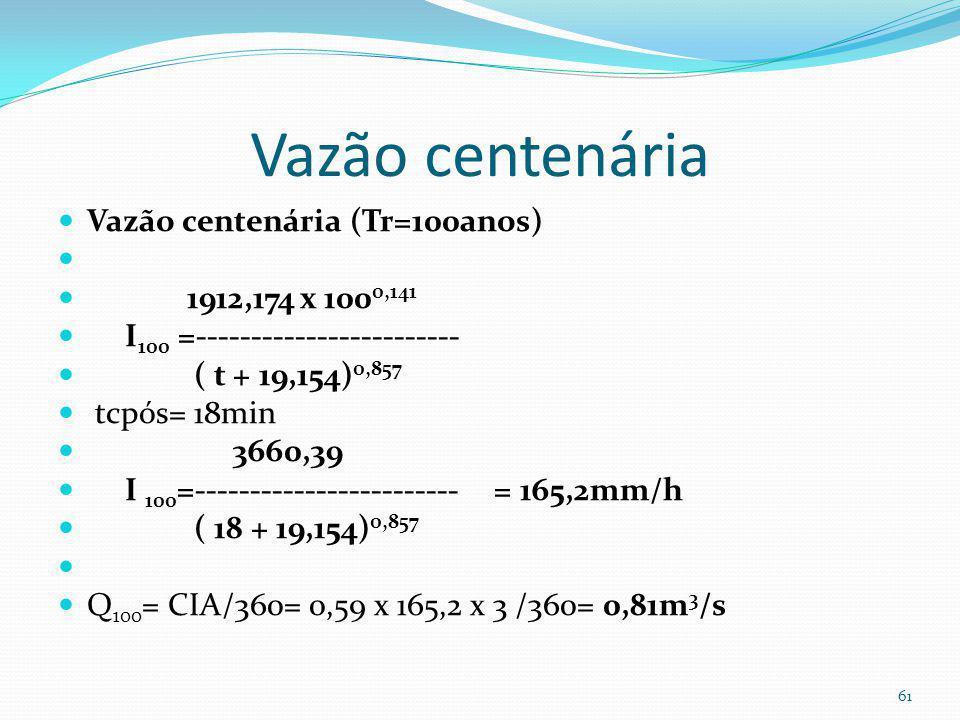 Cálculo do vertedor de emergência Usa-se o vertedor de emergência para Tr=100anos (altura da barragem < 5,00m) 60