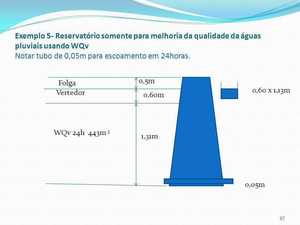 Diâmetro do orifício do Exemplo 5 Deverá passar em 24 horas Vazão = 443m 3 / 86400s= Q= 0,00513m 3 /s Equação do orifício Q= Cd x Ao x (2.g.h) 0,5 Cd=
