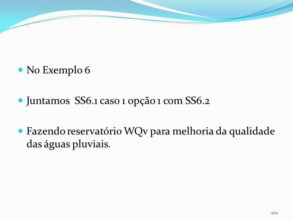 Exemplo 6- Reservatório para melhoria da qualidade da águas pluviais usando WQv e enchente TR=2anos Notar tubo de 0,05m para escoamento em 24horas. 0,