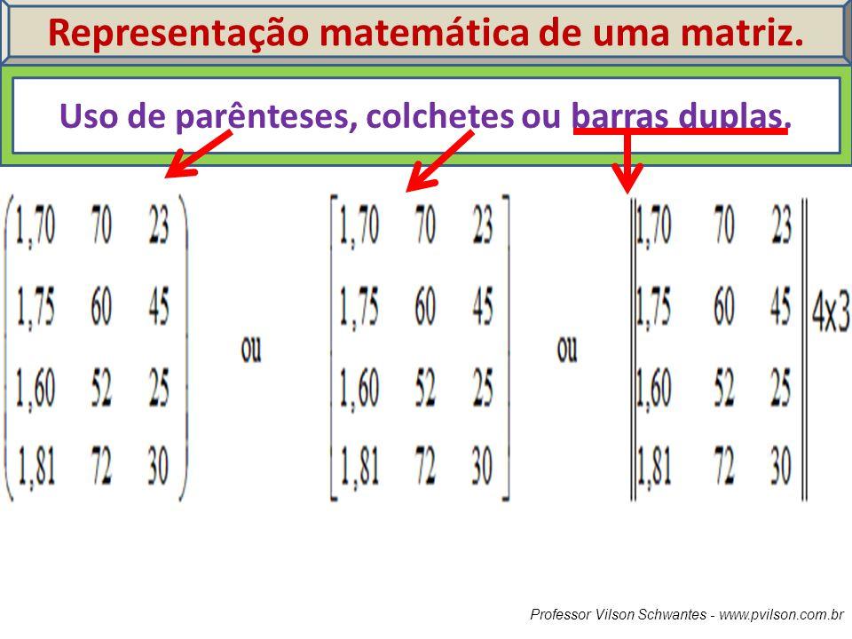 Professor Vilson Schwantes - www.pvilson.com.br Representação matemática de uma matriz. Uso de parênteses, colchetes ou barras duplas.