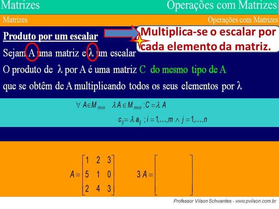 Multiplica-se o escalar por cada elemento da matriz.