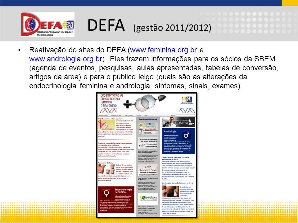 Reativação do sites do DEFA (www.feminina.org.br e www.andrologia.org.br).