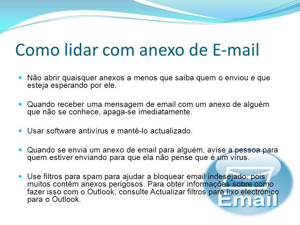 O Vírus do E-mail Muitos dos vírus de computador e outros softwares mal- intencionados comuns são espalhados através de anexos de e-mail Os arquivos são enviados juntamente com uma mensagem de email, anexado a uma mensagem que contém vírus;
