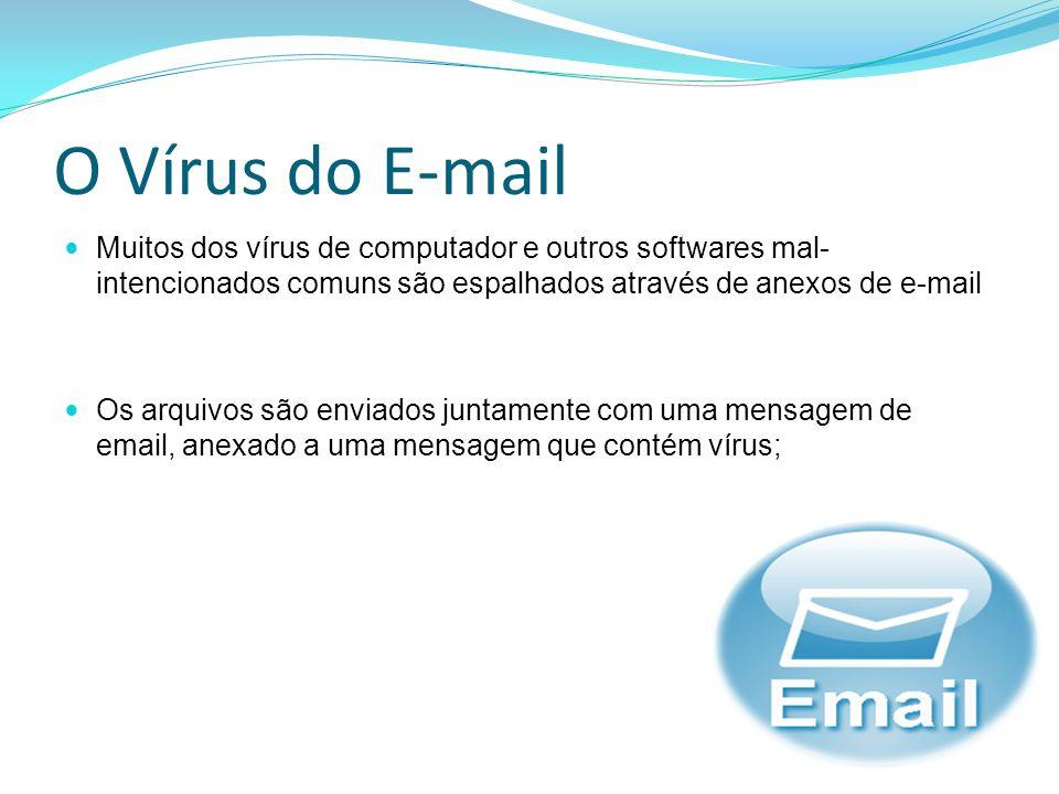 O Vírus do E-mail Muitos dos vírus de computador e outros softwares mal- intencionados comuns são espalhados através de anexos de e-mail Os arquivos s
