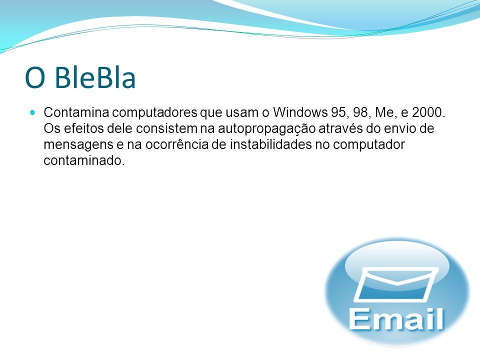 O BleBla Contamina computadores que usam o Windows 95, 98, Me, e 2000. Os efeitos dele consistem na autopropagação através do envio de mensagens e na