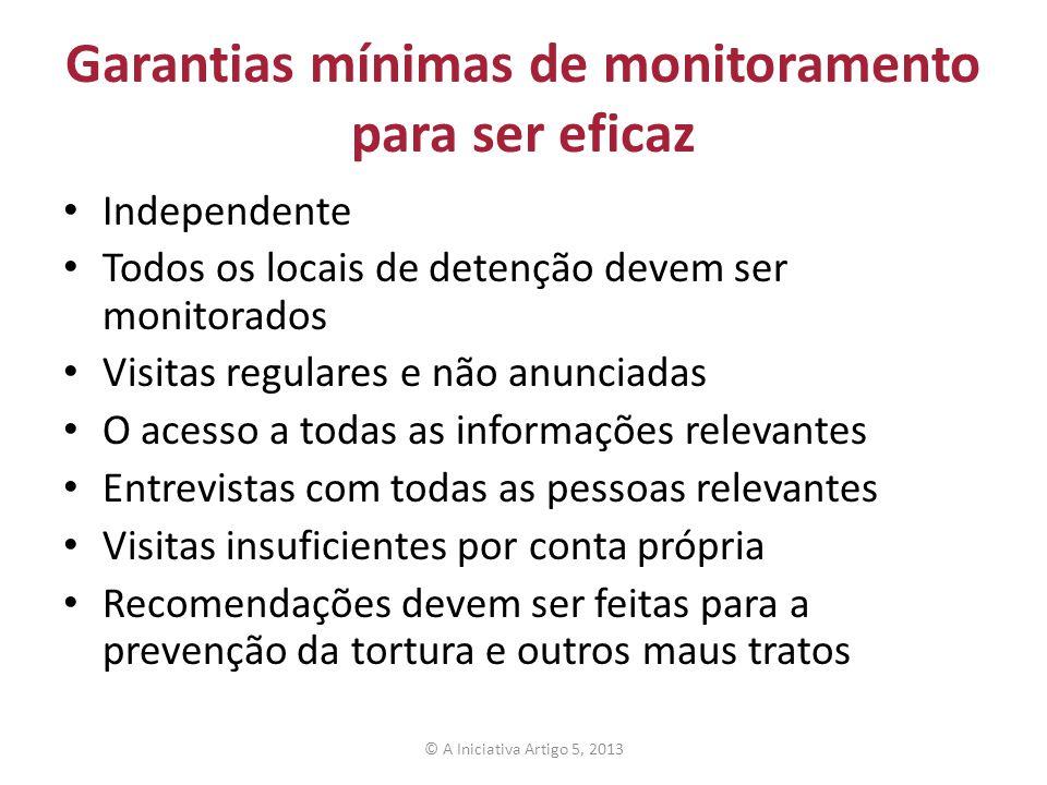 Garantias mínimas de monitoramento para ser eficaz Independente Todos os locais de detenção devem ser monitorados Visitas regulares e não anunciadas O