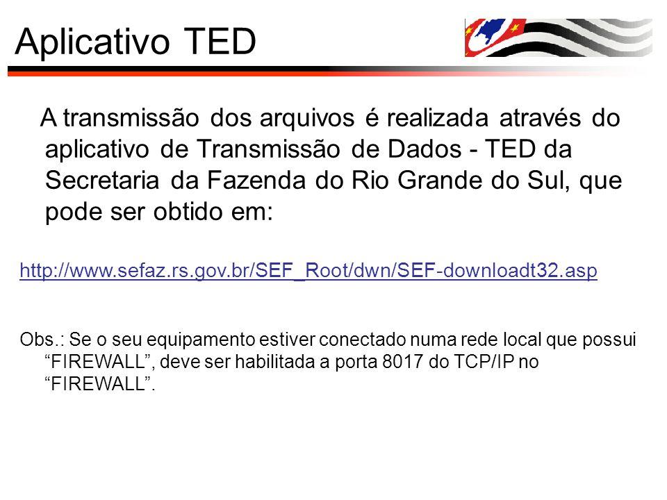 Aplicativo TED A transmissão dos arquivos é realizada através do aplicativo de Transmissão de Dados - TED da Secretaria da Fazenda do Rio Grande do Su