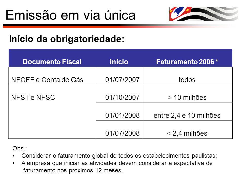 Emissão em via única Início da obrigatoriedade: Documento FiscalinícioFaturamento 2006 * NFCEE e Conta de Gás01/07/2007todos NFST e NFSC01/10/2007> 10