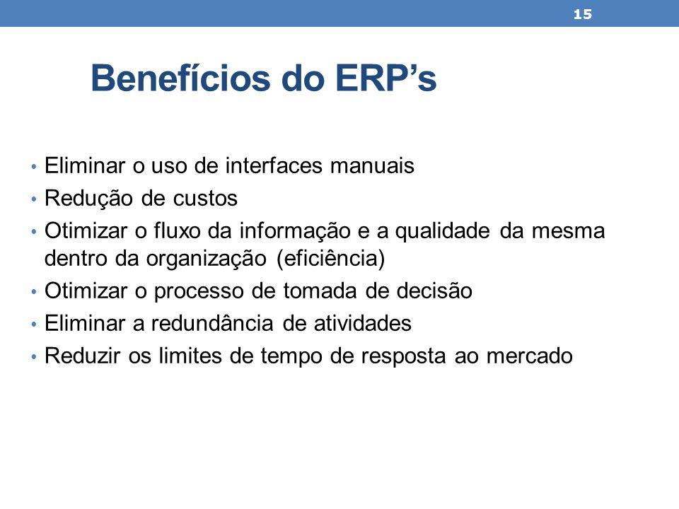 Benefícios do ERP's Eliminar o uso de interfaces manuais Redução de custos Otimizar o fluxo da informação e a qualidade da mesma dentro da organização