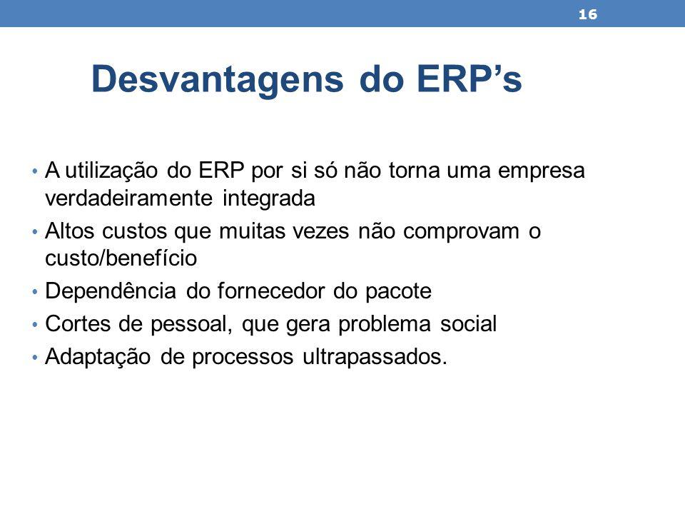 A utilização do ERP por si só não torna uma empresa verdadeiramente integrada Altos custos que muitas vezes não comprovam o custo/benefício Dependênci