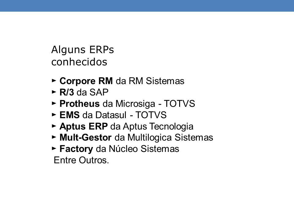 Alguns ERPs conhecidos ► Corpore RM da RM Sistemas ► R/3 da SAP ► Protheus da Microsiga - TOTVS ► EMS da Datasul - TOTVS ► Aptus ERP da Aptus Tecnolog