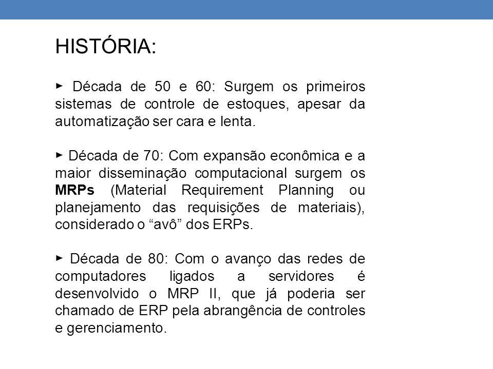 HISTÓRIA: ► Década de 50 e 60: Surgem os primeiros sistemas de controle de estoques, apesar da automatização ser cara e lenta. ► Década de 70: Com exp