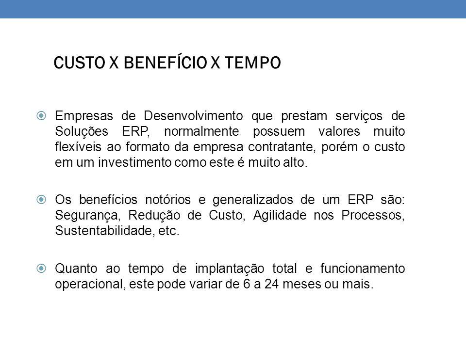 CUSTO X BENEFÍCIO X TEMPO  Empresas de Desenvolvimento que prestam serviços de Soluções ERP, normalmente possuem valores muito flexíveis ao formato d