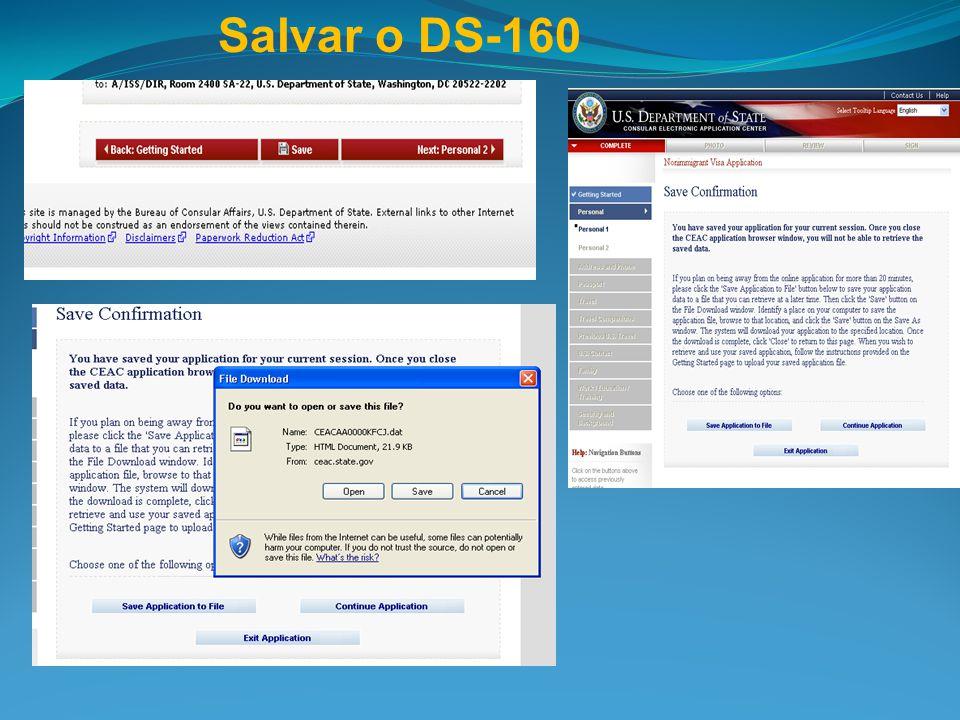 Salvar o DS-160