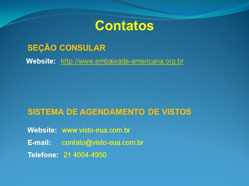 Website: http://www.embaixada-americana.org.brhttp://www.embaixada-americana.org.br Contatos SEÇÃO CONSULAR Website: www.visto-eua.com.br E-mail: cont