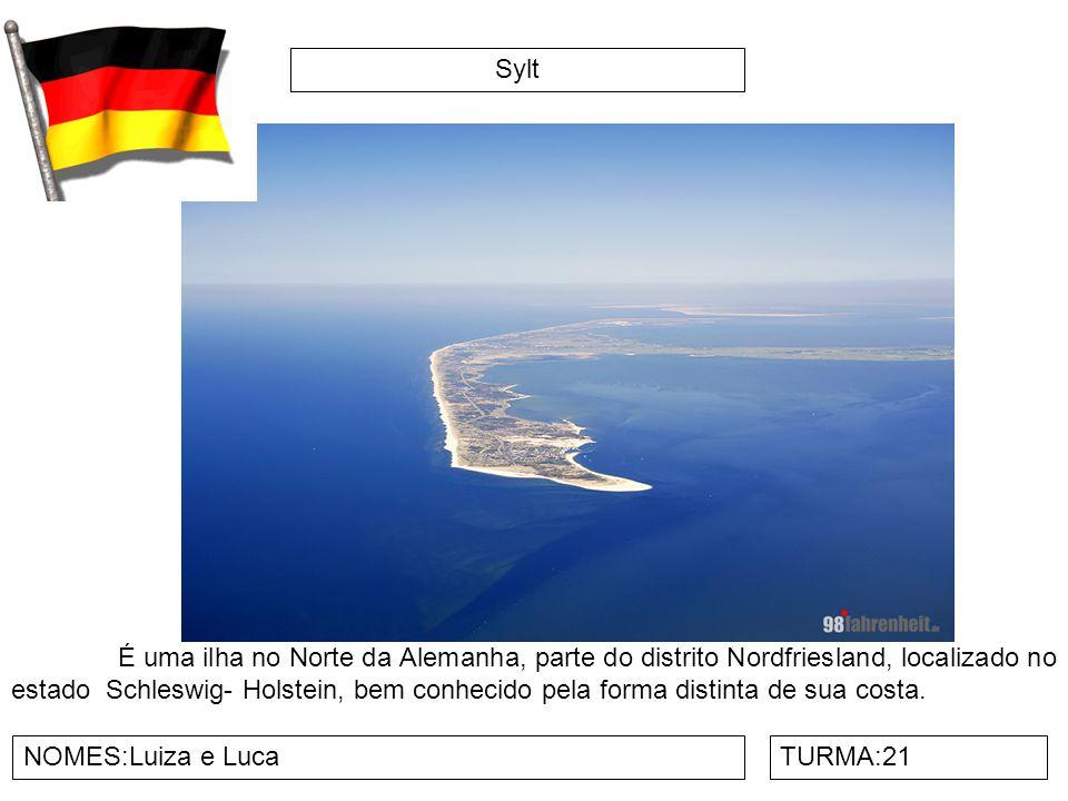 Sylt NOMES:Luiza e LucaTURMA:21 É uma ilha no Norte da Alemanha, parte do distrito Nordfriesland, localizado no estado Schleswig- Holstein, bem conhecido pela forma distinta de sua costa.