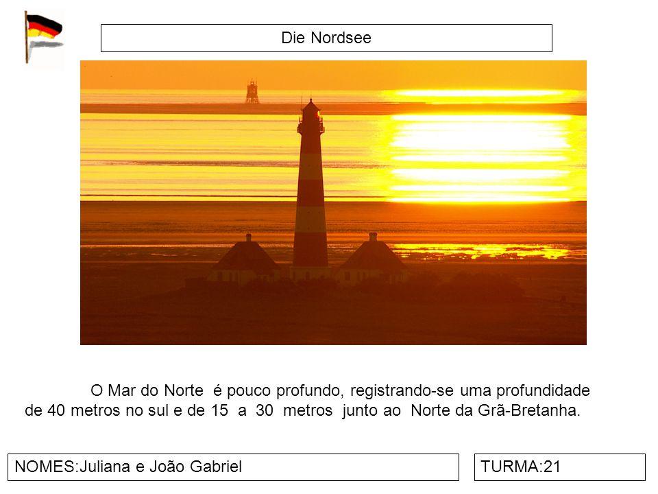 Die Nordsee NOMES:Juliana e João GabrielTURMA:21 O Mar do Norte é pouco profundo, registrando-se uma profundidade de 40 metros no sul e de 15 a 30 metros junto ao Norte da Grã-Bretanha.