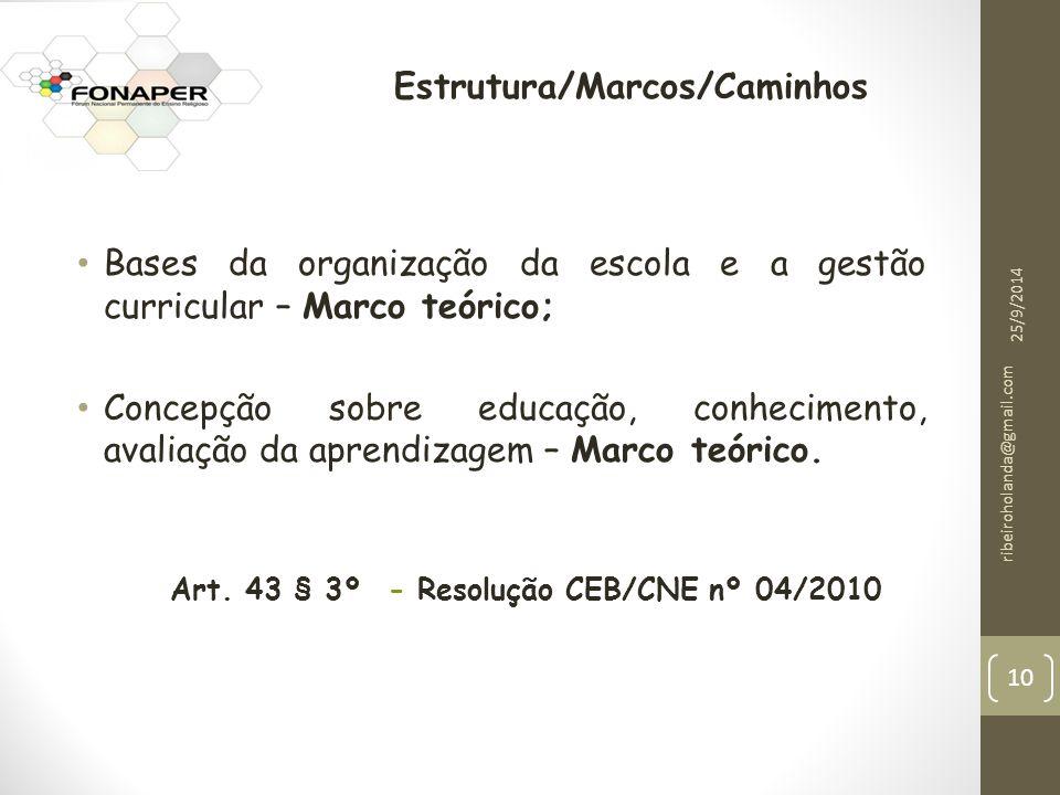 Bases da organização da escola e a gestão curricular – Marco teórico; Concepção sobre educação, conhecimento, avaliação da aprendizagem – Marco teórico.
