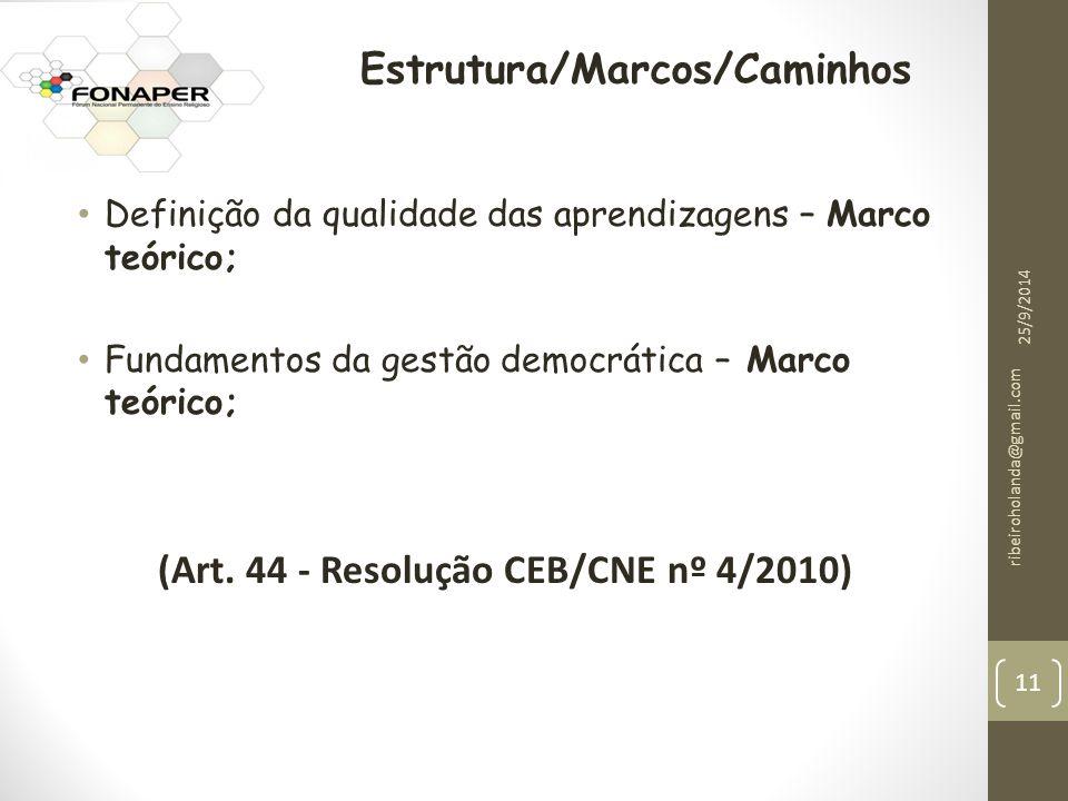 Definição da qualidade das aprendizagens – Marco teórico; Fundamentos da gestão democrática – Marco teórico; (Art.