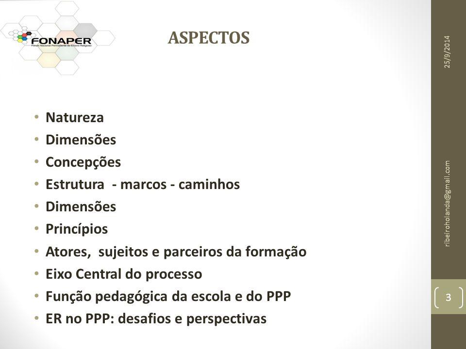 ASPECTOS Natureza Dimensões Concepções Estrutura - marcos - caminhos Dimensões Princípios Atores, sujeitos e parceiros da formação Eixo Central do processo Função pedagógica da escola e do PPP ER no PPP: desafios e perspectivas 3 ribeiroholanda@gmail.com 25/9/2014
