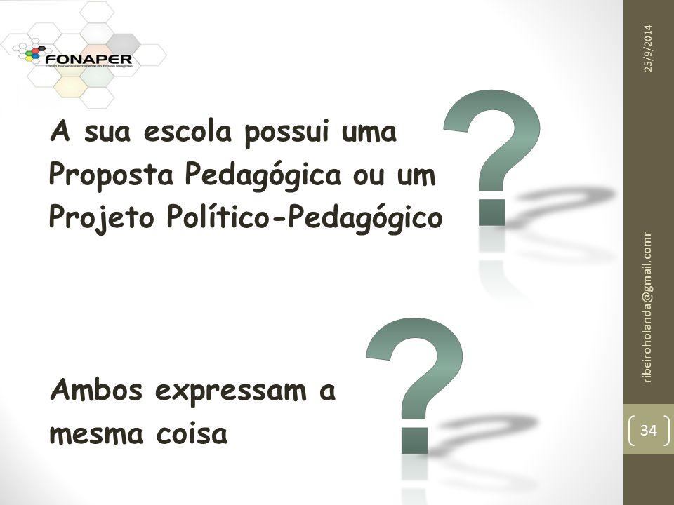A sua escola possui uma Proposta Pedagógica ou um Projeto Político-Pedagógico Ambos expressam a mesma coisa 25/9/2014 ribeiroholanda@gmail.comr 34