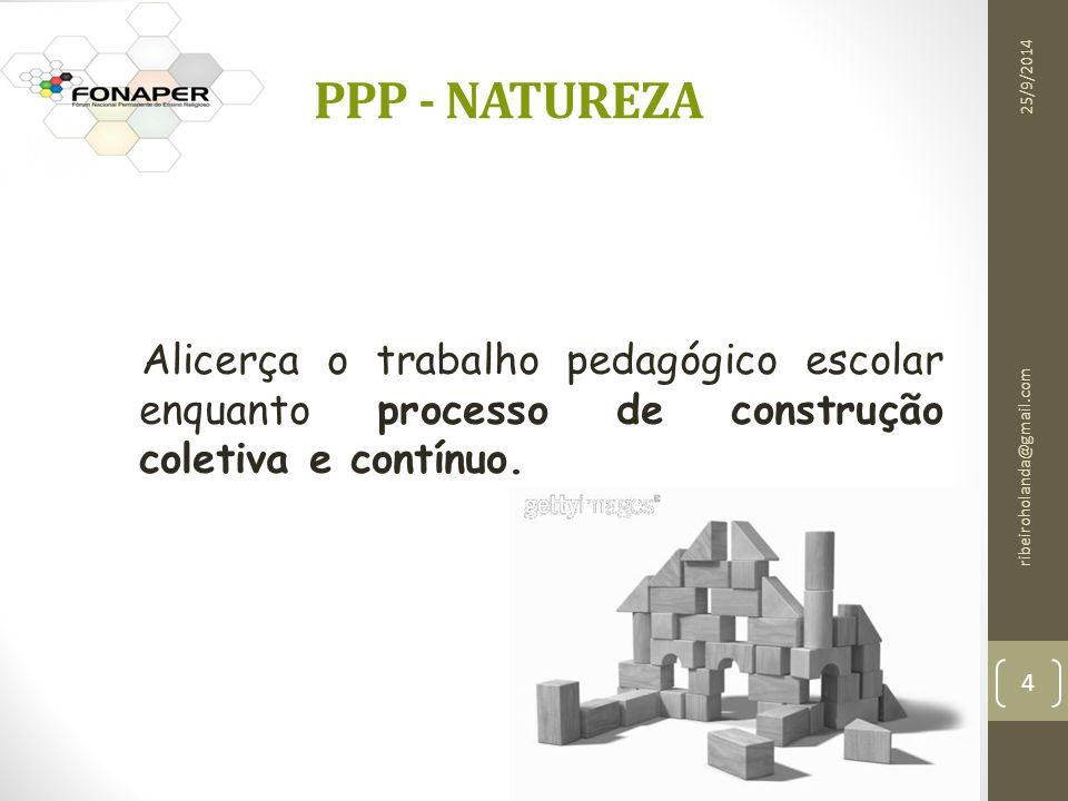 ribeiroholanda@gmail.com 4 PPP - NATUREZA Alicerça o trabalho pedagógico escolar enquanto processo de construção coletiva e contínuo.