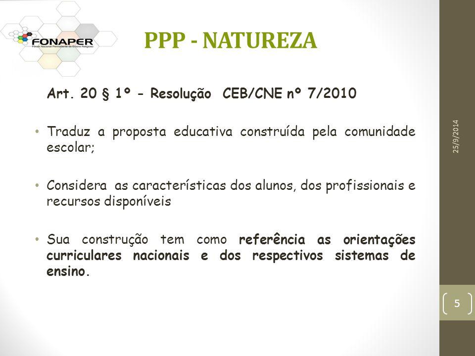 Art. 20 § 1º - Resolução CEB/CNE nº 7/2010 Traduz a proposta educativa construída pela comunidade escolar; Considera as características dos alunos, do