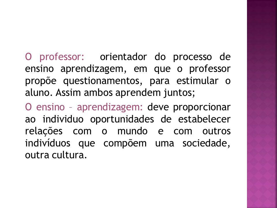 O professor: orientador do processo de ensino aprendizagem, em que o professor propõe questionamentos, para estimular o aluno. Assim ambos aprendem ju