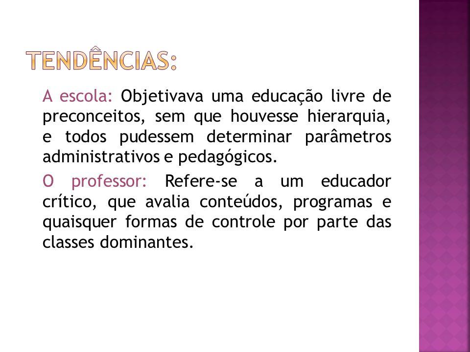 A escola: Objetivava uma educação livre de preconceitos, sem que houvesse hierarquia, e todos pudessem determinar parâmetros administrativos e pedagóg