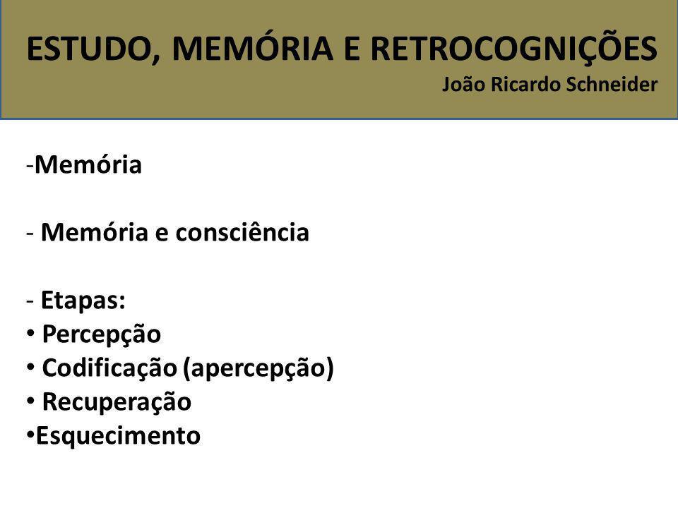 -Memória - Memória e consciência - Etapas: Percepção Codificação (apercepção) Recuperação Esquecimento