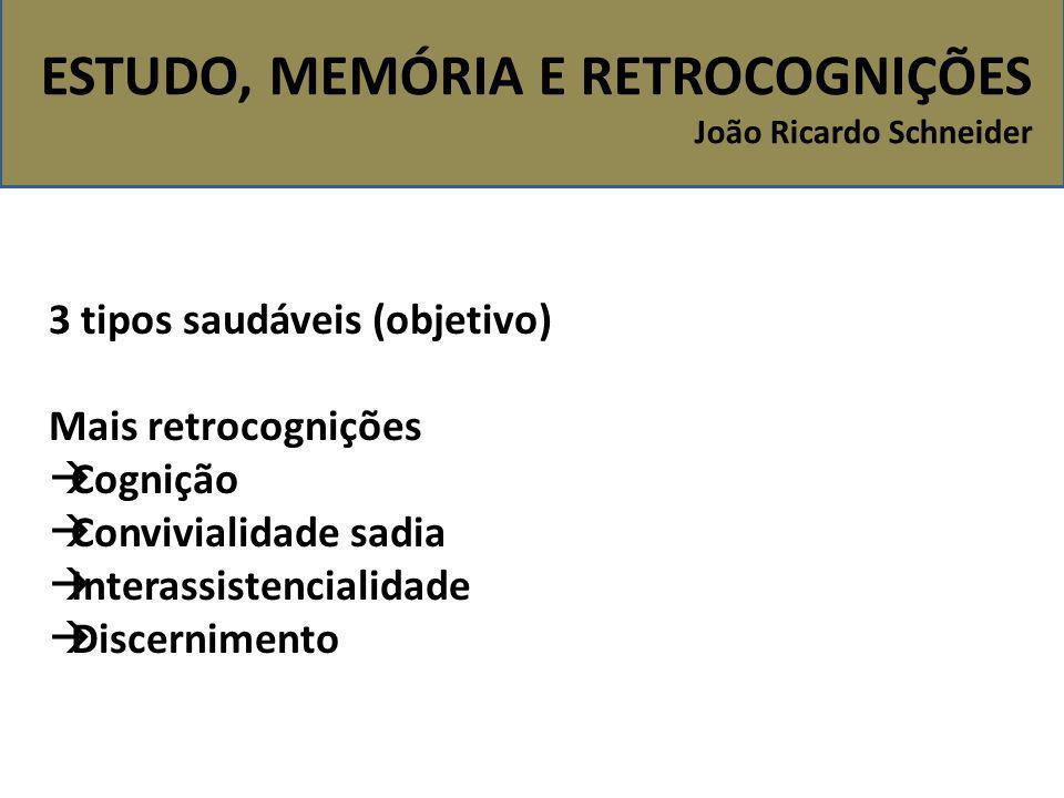 ESTUDO, MEMÓRIA E RETROCOGNIÇÕES João Ricardo Schneider 3 tipos saudáveis (objetivo) Mais retrocognições  Cognição  Convivialidade sadia  Interassi