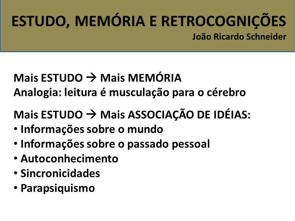 ESTUDO, MEMÓRIA E RETROCOGNIÇÕES João Ricardo Schneider Mais ESTUDO  Mais MEMÓRIA Analogia: leitura é musculação para o cérebro Mais ESTUDO  Mais AS