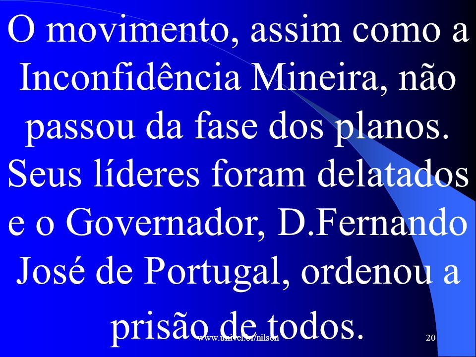 www.univel.br/nilson20 O movimento, assim como a Inconfidência Mineira, não passou da fase dos planos.