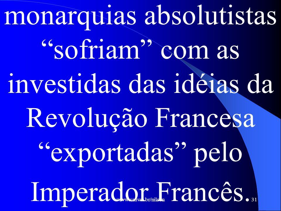 www.univel.br/nilson31 monarquias absolutistas sofriam com as investidas das idéias da Revolução Francesa exportadas pelo Imperador Francês.