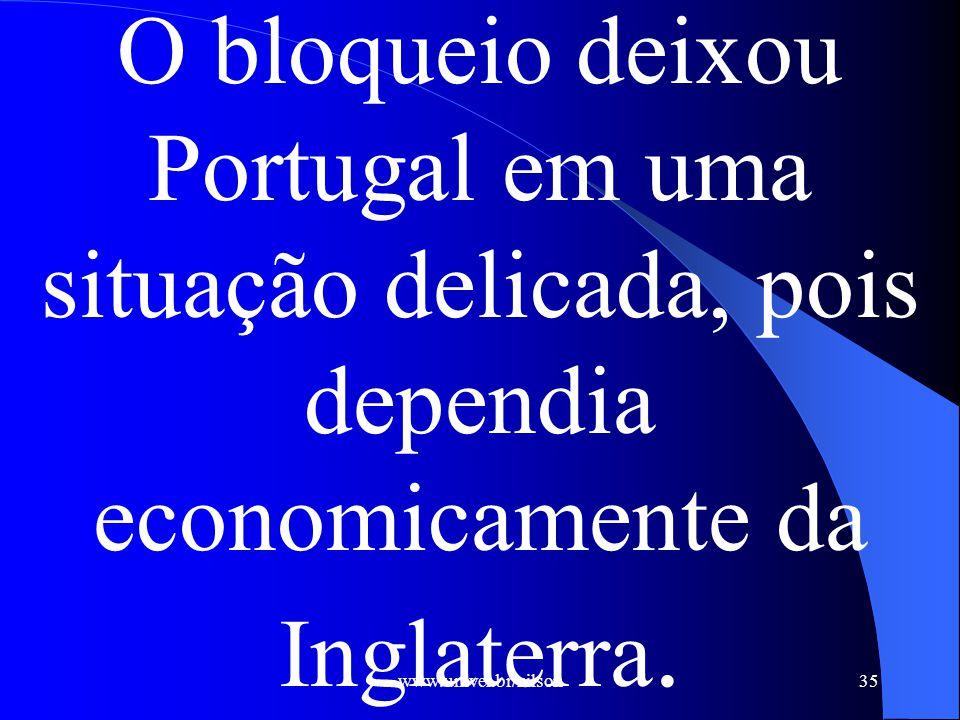 www.univel.br/nilson36 O rompimento significaria a falência do Estado português, mas não romper teria como resultado a invasão francesa.