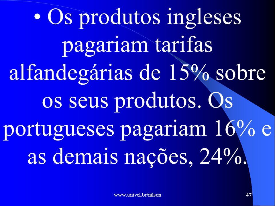 www.univel.br/nilson47 Os produtos ingleses pagariam tarifas alfandegárias de 15% sobre os seus produtos.