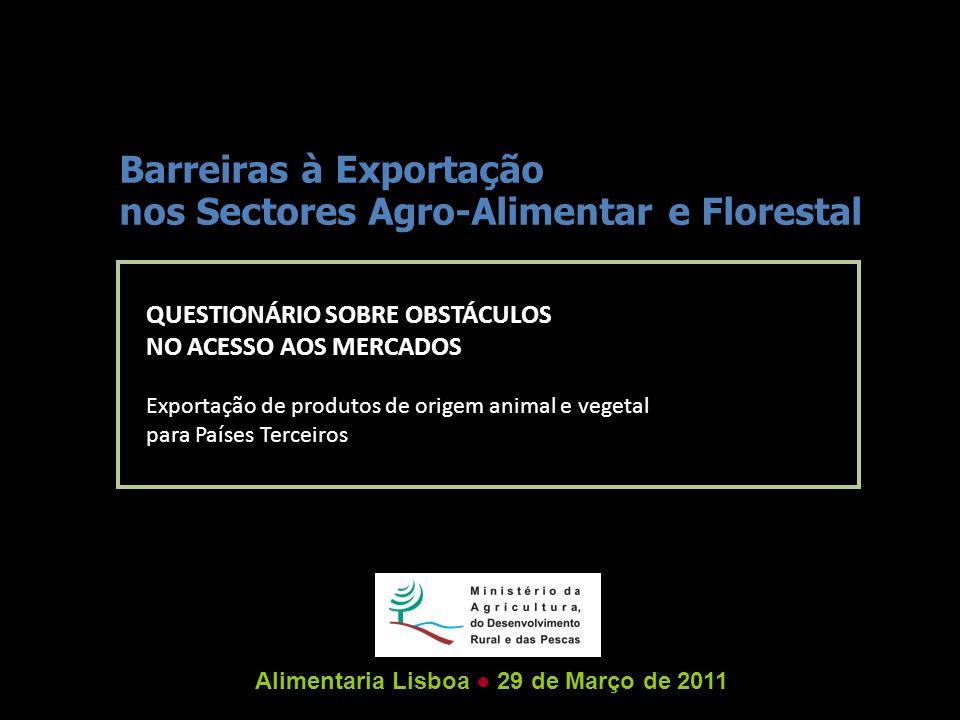 QUESTIONÁRIO SOBRE OBSTÁCULOS NO ACESSO AOS MERCADOS Exportação de produtos de origem animal e vegetal para Países Terceiros Barreiras à Exportação nos Sectores Agro-Alimentar e Florestal Alimentaria Lisboa ● 29 de Março de 2011