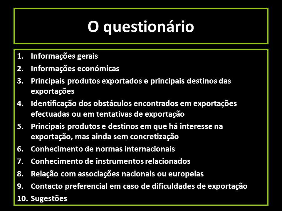 O questionário 1.Informações gerais 2.Informações económicas 3.Principais produtos exportados e principais destinos das exportações 4.Identificação do