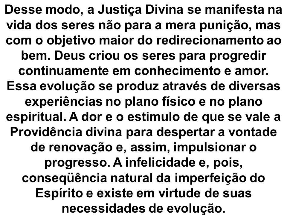 Desse modo, a Justiça Divina se manifesta na vida dos seres não para a mera punição, mas com o objetivo maior do redirecionamento ao bem.
