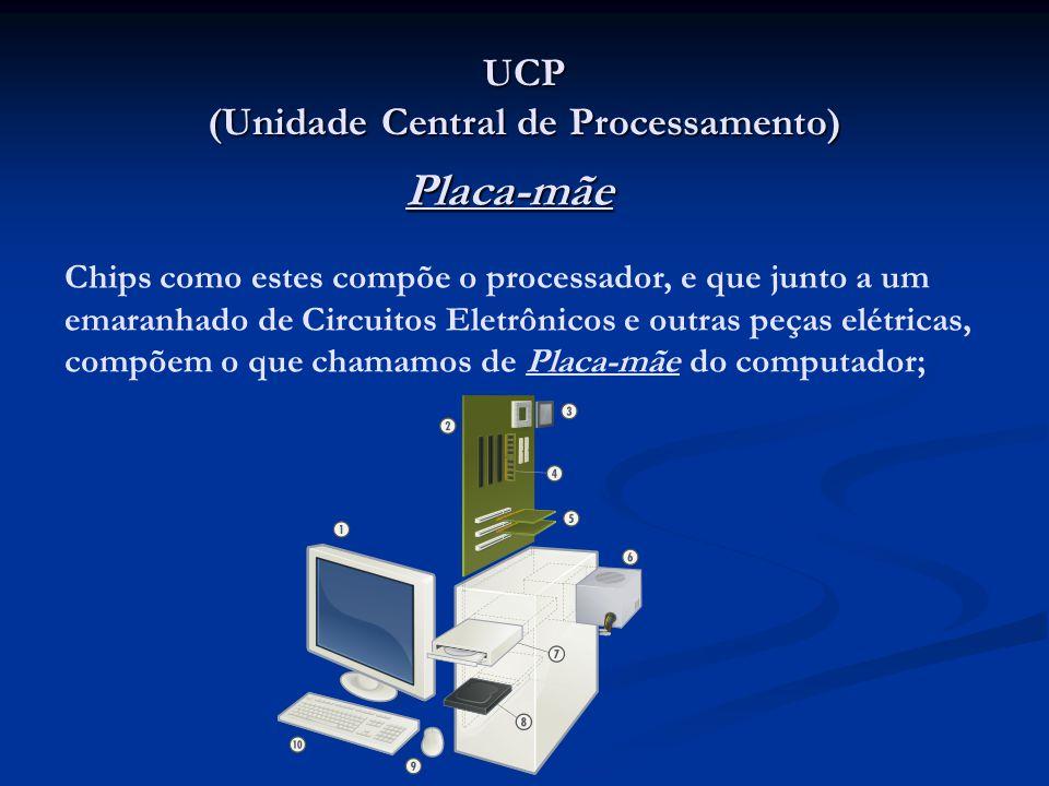 UCP (Unidade Central de Processamento) Placa-mãe Chips como estes compõe o processador, e que junto a um emaranhado de Circuitos Eletrônicos e outras