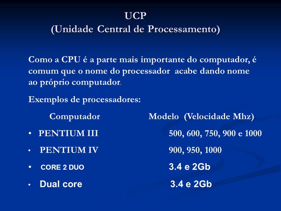 UCP (Unidade Central de Processamento) Como a CPU é a parte mais importante do computador, é comum que o nome do processador acabe dando nome ao própr