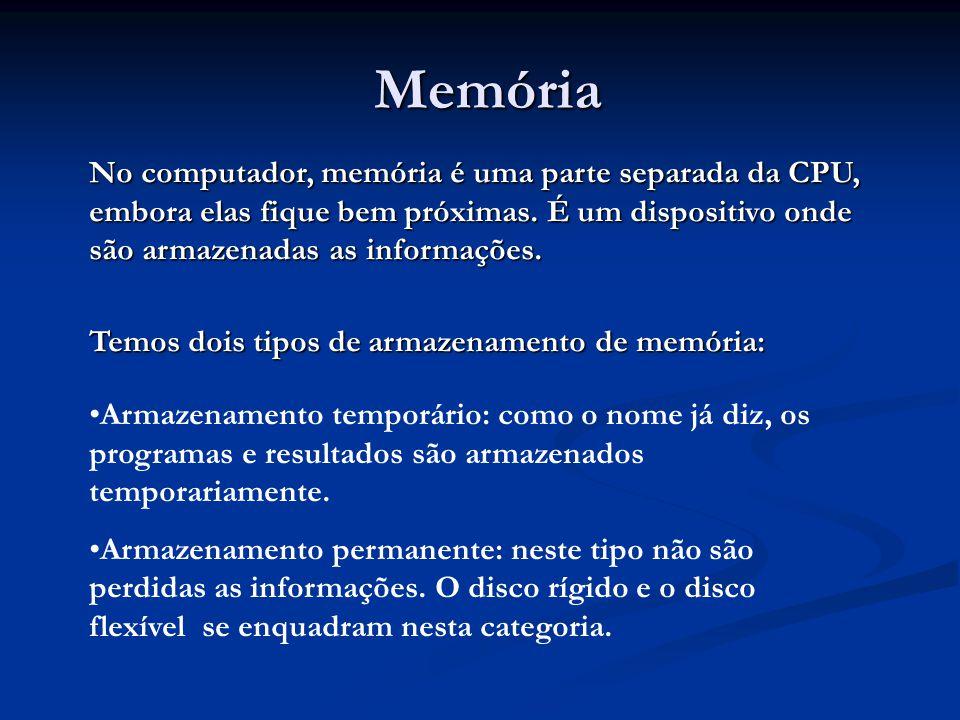 Memória Memória No computador, memória é uma parte separada da CPU, embora elas fique bem próximas. É um dispositivo onde são armazenadas as informaçõ