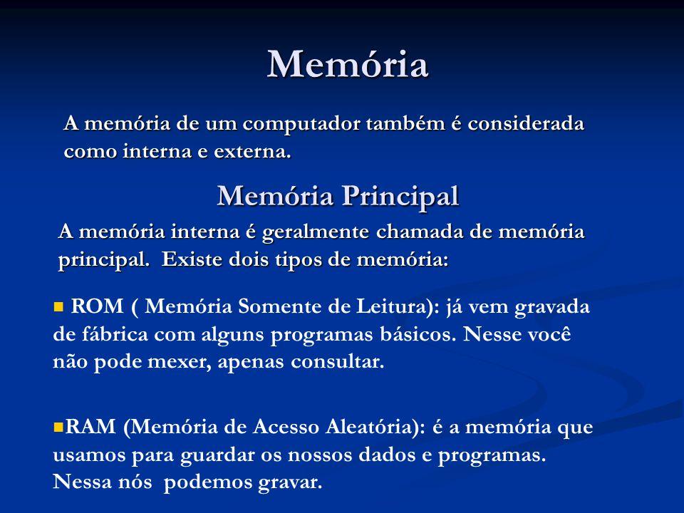 Memória Memória A memória de um computador também é considerada como interna e externa. Memória Principal Memória Principal A memória interna é geralm