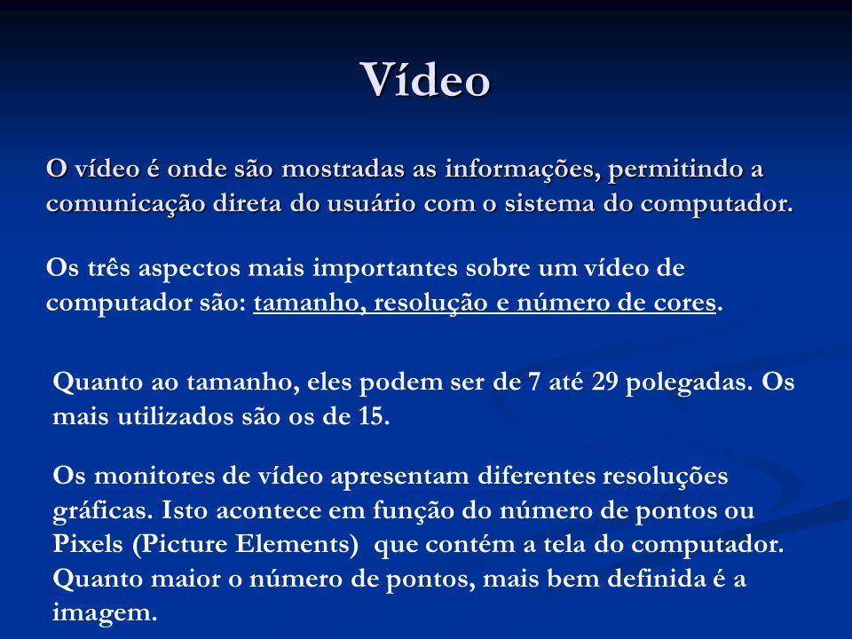 Vídeo O vídeo é onde são mostradas as informações, permitindo a comunicação direta do usuário com o sistema do computador. Os três aspectos mais impor