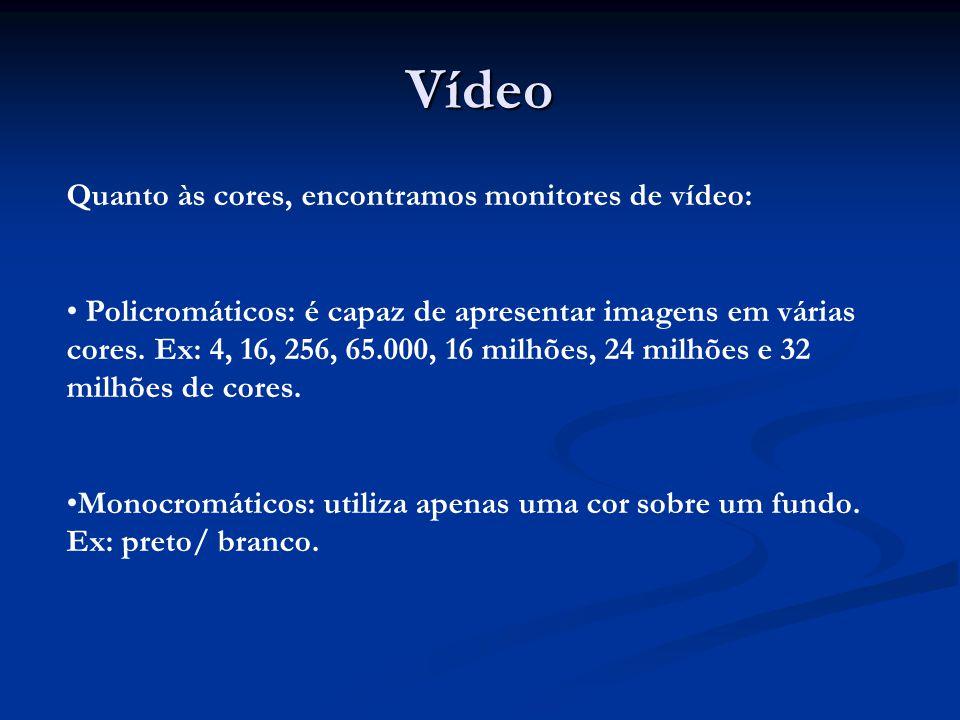Vídeo Quanto às cores, encontramos monitores de vídeo: Policromáticos: é capaz de apresentar imagens em várias cores. Ex: 4, 16, 256, 65.000, 16 milhõ